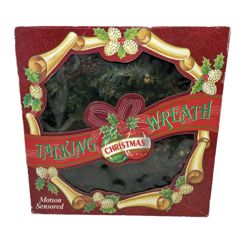 "Gemmy Original Talking Wreath 14"" Animated Christmas Display 1997 in Box Works"