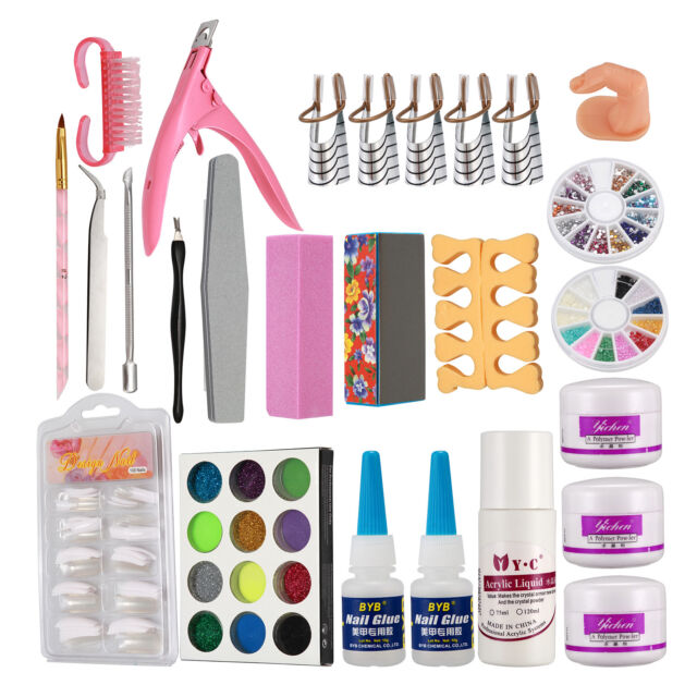 Nail Art Set Acrylic Liquid Glitter Powder File Brush Form Tips ...