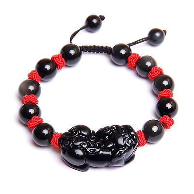 Feng Shui Obsidian Onxy  Pi Yao / Pi Xiu  Xie bracelet amulet for  good luck