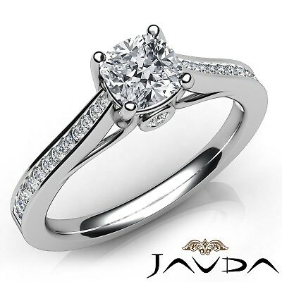 0.86ctw Channel Bezel Prong Cushion Diamond Engagement Ring GIA I-VS1 White Gold