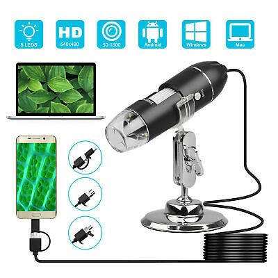1600x Camera 8 Led Otg Endoscope Usb Digital Microscope Magnification W Stand