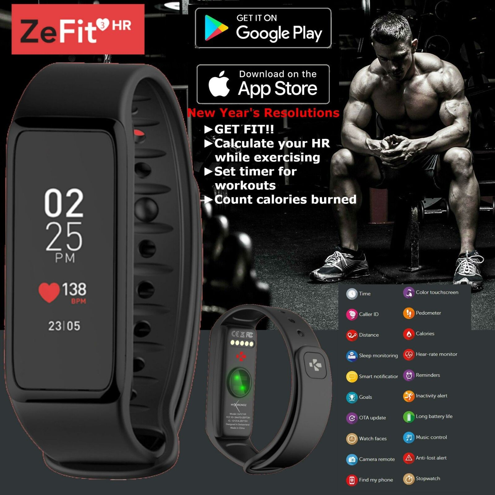 waterproof fitness activity tracker heart rate smart