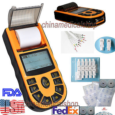 Us Seller Digital Single Channel Electrocardiograph Ecgekg Machine 12-lead Fda