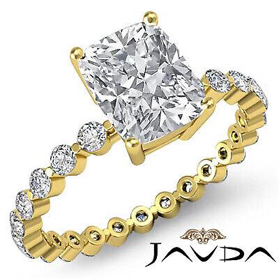 Cushion Cut Diamond Pave Vintage Engagement Ring GIA G SI1 14k White Gold 1.7 ct 3