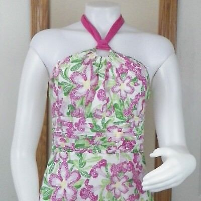 Womens Vintage Daisy (Lily Pulitzer Womens Size 2 Daisy Flower Print Vintage Pink Green)