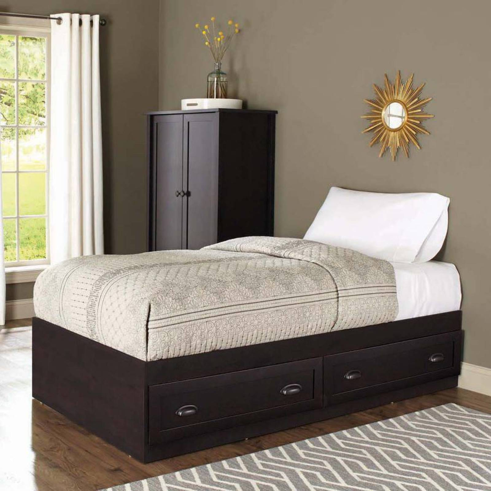 Wooden Twin Size Bed.Details About Twin Size Bed Base Mates Bed W Storage Draw Bedroom Furniture Wooden Guest Bed