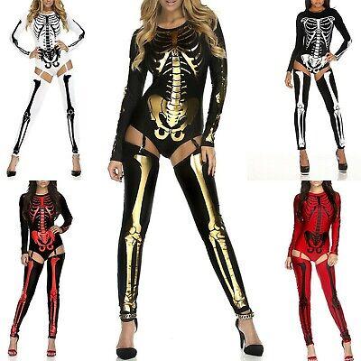 Women Halloween Skeleton Skull Jumpsuit Costumes Cosplay Catsuit Fancy Bodysuit