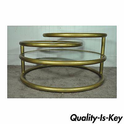 vintage hollywood regency 3 tier round swivel coffee table mid