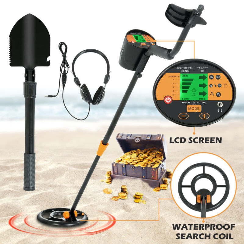 LCD Metal Detector Deep Sensitive Gold Digger Hunter Waterproof Coil w/Headphone