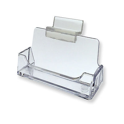 Lot Of 3 Slatwall Clear Plastic Business Card Holder Display Stand Desk Rack