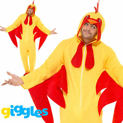 Chicken Costume Mens Womens Fancy Dress Jumpsuit World Book Day Week - Costume Bible
