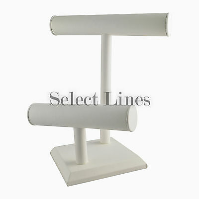 White Leather 2 Tier Bracelet T-bar Jewerly Display Stand Holder