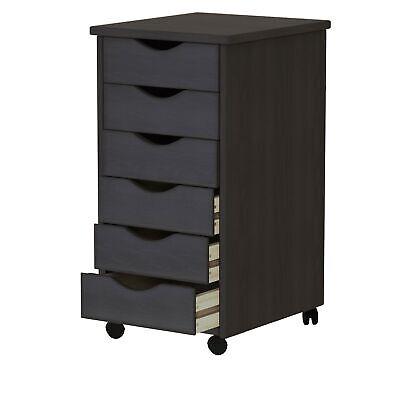 6-drawer File Cart Cabinet Office Storage Portable Organizer Solid Wood Black
