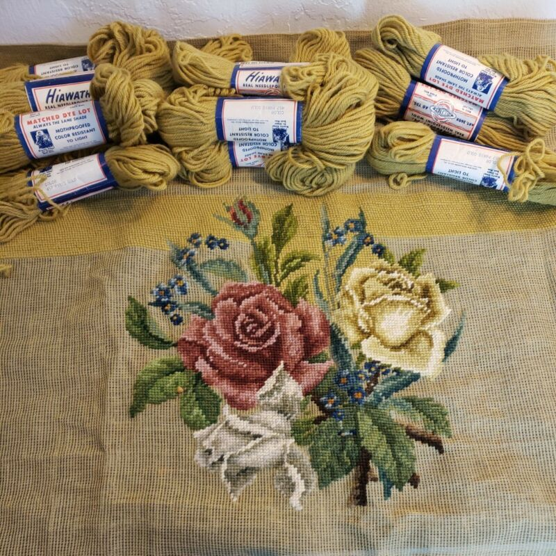 "Unfinished Needlepoint Seat Cover 25"" x 26"" Roses French Laundry Hiawatha Wool"