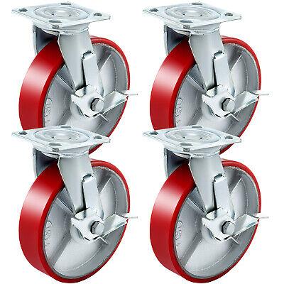Vevor 8 X 2 Polyurethane Swivel Caster With Side Brake Heavy Duty Flexibly
