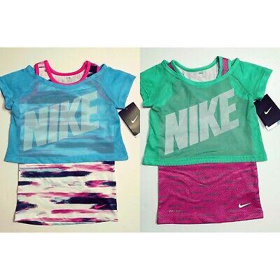 Nike Girls Dri-Fit Layered 2 in 1 Tank Top Cropped Tee Training Shirt 4 5 6 6X ()