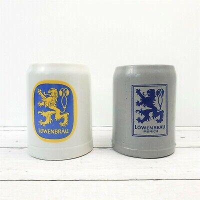 Vintage Set of (2) LOWENBRAU MUNCHEN German Stoneware Beer Mug Stein .5L Beer