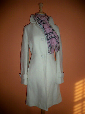 (New Talbots Size 14 Ivory Wool Blend Herringbone Coat Jacket)