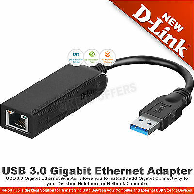 D-Link DUB-1312 USB 3.0 to Gigabit Ethernet Adapter RJ45 Networking Adapter NEW
