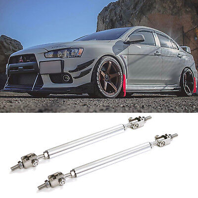 - Pair Silver Bumper Lip Splitter Strut Rod Tie Bars For Mitsubishi Lancer Evo X