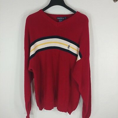 Nautica mens sweater red cotton knit top long sleeve size XL striped