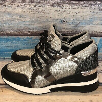 Michael Kors Women's Liv Trainer Extreme Mesh Sneakers Shoes Silver Multi 7.5 M