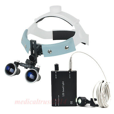 Headband Dental Medical Binocular Loupes Glasses 3.5x Magnifier W Led Head Light