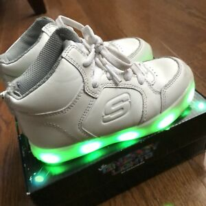 Skechers Energy Lights midcut sneakers in white size 10