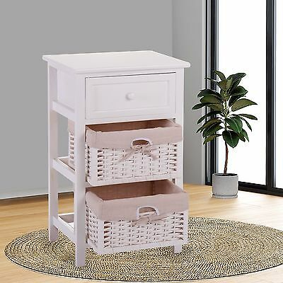 Wicker End Table (White Chic Nightstand End Table Bedroom Bedside Furniture 2 Wicker Storage Wood )