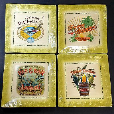 """Set of 4 Tommy Bahama 6"""" Square Ceramic Cocktail Appetizer Plates Tropical Rum"""