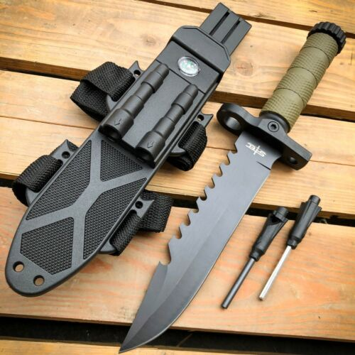 """12.5"""" TACTICAL Hunting FIXED BLADE Army MILITARY SURVIVAL Kn"""