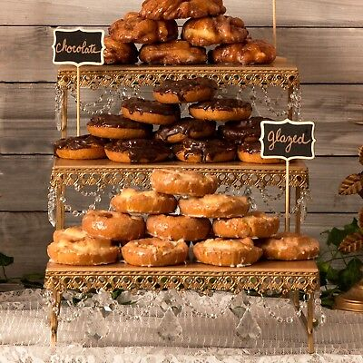 Metal 3 Tier Stand (3-TIER DESSERT PLATTER Metal Crystal Wedding Event Party Cupcake Display Stand)