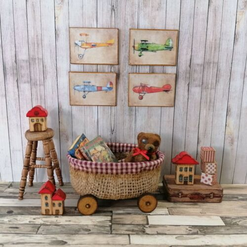 Dolls House Artisan Made Toy Basket with Teddy, Blanket, Books and Wall Pictures