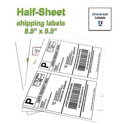 200 Shipping Labels - 2 Half Sheet Labels Per Sheet Laser Inkjet - Usa