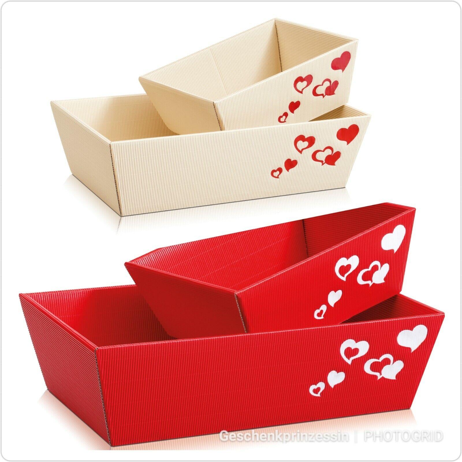 Präsentkorb leer Hochzeit Geschenkkorb Herzen Herz Geschenk weiß rot