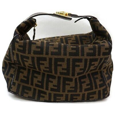 Authentic Fendi Hand Bag Zucca Browns Canvas 1124184