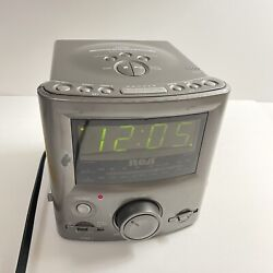 RCA Mini Silver Stereo CD Clock Radio Player RP3751A Tested Working