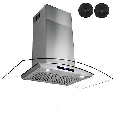 "36"" Wall Mount Stainless Steel Glass Range Hood Ventless Ductless CARBON FILTER"