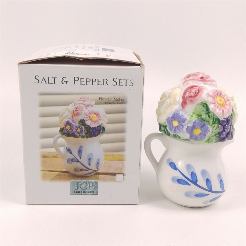 Hand Painted Ceramic JCP Home Collection Flower Pitcher Salt & Pepper Shakers