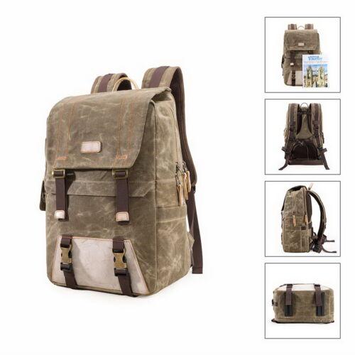 Top Waterproof Canvas DSLR SLR Camera Backpack Bag Case for