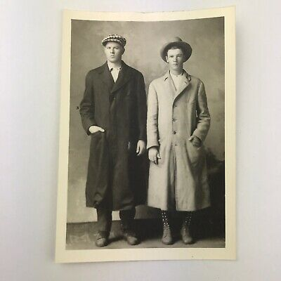 Vintage Black and White Photo Reprint Young Men in Trench Coats Hats 3.5 x 5