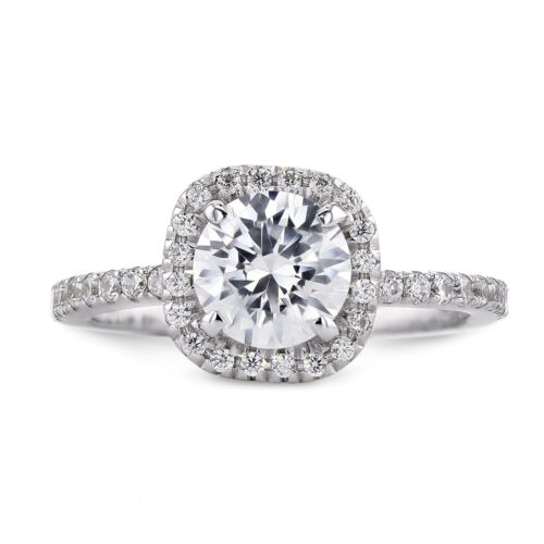 GIA CERTIFIED 1.07 Carat Round Cut F - VS2 Halo Diamond Engagement Ring sizeable