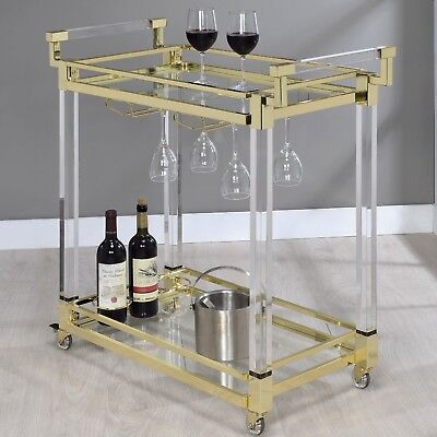 Modern Acrylic Kitchen Serving Bar Cart Electroplated Brass Clear Tempered Glass Dining Room Kitchen Serving Cart