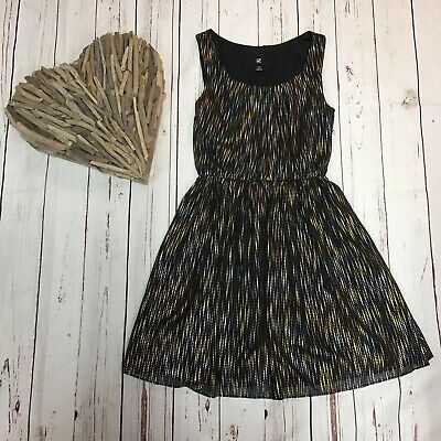 iZ Byer Juniors  XS Black Lined Sleeveless Dress with Silver and Gold Shimmer (Juniors Dress Xs)
