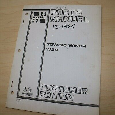 Hyster W3a Winch Parts Manual Cat D3 Fiat Fd5 Fd7 Case 450b 850b Crawler Tractor