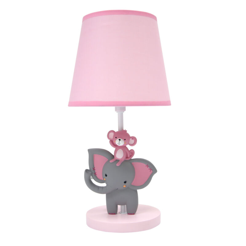 Bedtime Originals Twinkle Toes Lamp with Shade & Bulb - Pink, Gray, Elephant