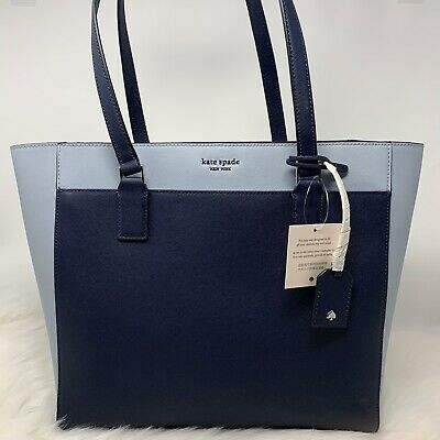 Kate Spade New York Laptop Tote Purse Cameron Blue Leather Ksny New NWT