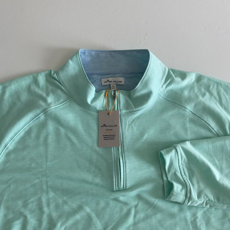 Peter Millar Crown Sport XL Mens NWT L/S Yucca Colored 1/4 Zip Pullover $135.00
