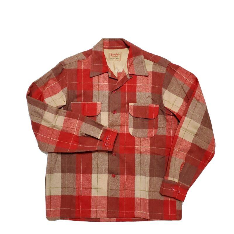 1950s Buck Skein Wool Plaid Flannel Shirt Sportsman Outdoors Loop Collar