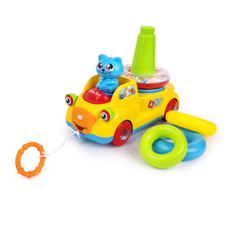 Playkidz Stackable Rings and Pull Along Toy Bus for Toddlers - Sensory and